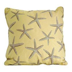"Yellow starfish throw pillow decorative cushion cover 20"" - A yellow starfish pillow cover. This 20"" x 20"" decorative cushion cover is made from decorator fabric."