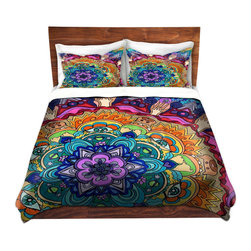 DiaNoche Designs - Duvet Cover Twill - Microcosm Mandala - Lightweight and super soft brushed twill Duvet Cover sizes Twin, Queen, King.  This duvet is designed to wash upon arrival for maximum softness.   Each duvet starts by looming the fabric and cutting to the size ordered.  The Image is printed and your Duvet Cover is meticulously sewn together with ties in each corner and a concealed zip closure.  All in the USA!!  Poly top with a Cotton Poly underside.  Dye Sublimation printing permanently adheres the ink to the material for long life and durability. Printed top, cream colored bottom, Machine Washable, Product may vary slightly from image.