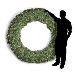 108 in. Commercial Pre-lit Christmas Wreath - Want to grab people's attention? The Brite Ideas 108-Inch Pre-Lit Christmas Wreath should do the trick. This huge wreath is pre-lit with 600 bulbs for a holiday focal point that will add some drama to any home or business. Hang it inside or out - wherever you need to add a particularly festive touch. Its soft incandescent lighting will have any setting ready to celebrate the magic of the holidays. About Brite IdeasEstablished in Omaha Neb. in 1990 Brite Ideas Decorating Inc. has become a holiday lighting industry leader providing customers across the United States with durable cutting edge lighting displays for both residential and commercial applications. Featuring a full line of innovative LED products and uniquely designed displays Brite Ideas appeals to tradition modern simple and even ornate tastes. It is their mission to promote excellence in the holiday lighting industry. With that in mind Brite Ideas products go above and beyond the standard to create the best holiday atmosphere for you.