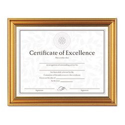 DAX - DAX Antique Colored Document Frame w/Certificate, Metal, 8-1/2 x 11, Gold - This document frame with antique coloring has an elegant vintage display that's perfect for a traditionally decorated office or home. Includes a versatile 8 1/2 x 11 certificate for creating your own personalized award. With easel back for desktop use; also hangs vertically or horizontally.