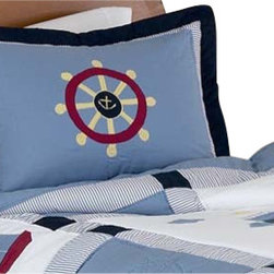 Sweet Jojo Designs - Come Sail Away Pillow Sham - The Come Sail Away standard pillow sham coordinates beautifully with the Sweet jojo designs, Come Sail Away bedding collection. This pillow sham is a quick and easy way to complete the look and theme in your child's bedroom. Machine washable. Fits all standard size pillows. The Pillow Sham Dimensions are 20 in. x 26 in.
