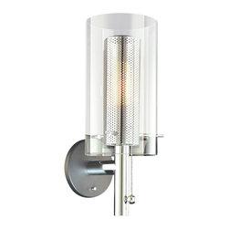 Sonneman Lighting - Sonneman Lighting 4391.57 Zylinder Sconce In Polished Chrome and Satin Black - Sonneman Lighting 4391.57 Zylinder Sconce In Polished Chrome And Satin Black