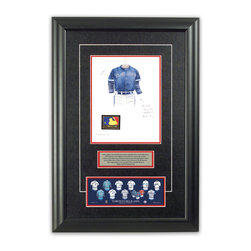 """Heritage Sports Art - Original art of the MLB 1994 Toronto Blue Jays uniform - This beautifully framed piece features an original piece of watercolor artwork glass-framed in an attractive two inch wide black resin frame with a double mat. The outer dimensions of the framed piece are approximately 17"""" wide x 24.5"""" high, although the exact size will vary according to the size of the original piece of art. At the core of the framed piece is the actual piece of original artwork as painted by the artist on textured 100% rag, water-marked watercolor paper. In many cases the original artwork has handwritten notes in pencil from the artist. Simply put, this is beautiful, one-of-a-kind artwork. The outer mat is a rich textured black acid-free mat with a decorative inset white v-groove, while the inner mat is a complimentary colored acid-free mat reflecting one of the team's primary colors. The image of this framed piece shows the mat color that we use (Red). Beneath the artwork is a silver plate with black text describing the original artwork. The text for this piece will read: This original, one-of-a-kind watercolor painting of the 1994 Toronto Blue Jays uniform is the original artwork that was used in the creation of this Toronto Blue Jays uniform evolution print and tens of thousands of other Toronto Blue Jays products that have been sold across North America. This original piece of art was painted by artist Bill Band for Maple Leaf Productions Ltd. Beneath the silver plate is a 3"""" x 9"""" reproduction of a well known, best-selling print that celebrates the history of the team. The print beautifully illustrates the chronological evolution of the team's uniform and shows you how the original art was used in the creation of this print. If you look closely, you will see that the print features the actual artwork being offered for sale. The piece is framed with an extremely high quality framing glass. We have used this glass style for many years with excellent results. We packag"""