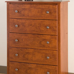 None - Chelsea Cherry 5-drawer Chest - No bedroom is complete without a chest, so choose one that's as attractive as it is functional. The Chelsea 5 Drawer Chest offers 5 drawers' worth of storage, and looks great, too.