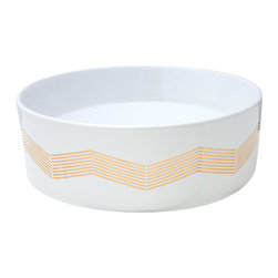 Decorated Porcelain Company - Chevron Stripe Decorated Vessel Sink - Real metallic gold chevron stripes painted on a white round vessel sink is a great addition to any style of bath or powder room. All of our fixtures are hand-made to order in the USA and kiln-fired for long-lasting durability. Chevron stripe can be applied to any kind of sink.