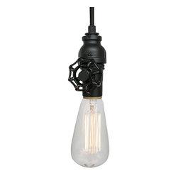 Hammers & Heels - Vintage Upcycled Valve Pipe Pendant Light, Matte Black + Black Canopy Kit - INDUSTRIAL VINTAGE VALVE PENDANT LIGHTING