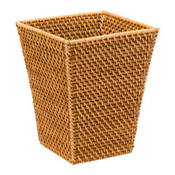 Square Waste Basket in Rattan, Honey-Brown