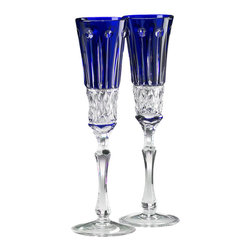 IMPERIAL COURT, INC. - Elizabeth Champagne Glasses Set Of 2 Blue Crystal - Mouth-blown and hand-cut cased crystal champagne flute stemware.  Set of two cobalt blue glasses in burgundy velvet covered wooden gift box.