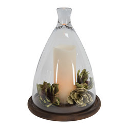 Designs Combined Inc. - Glass Dome Wood Base Décor - Perfect for displaying on your mantel or shelf, this glass dome easily enhances your home décor.   Includes dome and base Candle not included 11.75'' H x 9.25'' diameter Glass / wood Imported