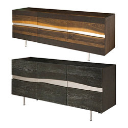 Modern Consoles / Credenzas - Sorrento Buffet will bring a sophisticated modern look to your space. Grey oxidized oak with stainless steel inlay.