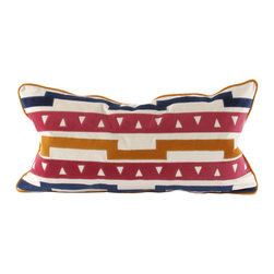 "V Rugs & Home - V Rugs & Home Molly Multi Pillow - Bold and spirited, the rectangle Molly throw pillow aligns geometric shapes for a charming Southwest-inspired pattern. A modern palette offers rich color to this textured design. 26""W x 14""H; 100% cotton velvet; Embroidered detail; Red, blue and cream with mustard yellow piping; Handcrafted; Down feather pillow insert included; Made in the USA; Dry clean only"