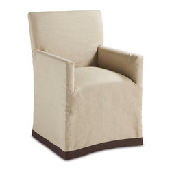Brownstone Furniture Marcel Dining Chair - Classic European style slip covered chair is upholstered in a fine, natural colored linen fabric and is stylishly accented with a bittersweet border at the bottom of the chair.