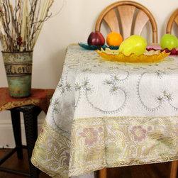 "Unique & Decorative Tablecloths - Unique ""Silver"" Square tablecloth. Hand embroidered in India. Dupion Silk fabric. Grey Gray"