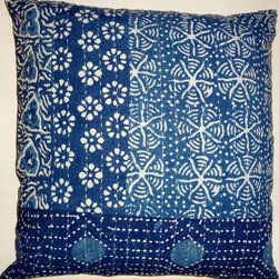 """Indigo blue batik, shibori, tie-dye and block print - Set of two.100% cotton sheeting block printed and kantha stitched pillow covers.. No two exactly alike, but very similar. 20"""" x 20"""". Bottom zipper closure. Made in India."""