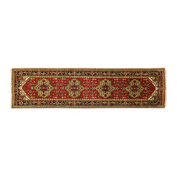Manhattan Rugs - Free-Pad New Persian Red Vege Dyed 3' X 10' Hand Knotted Wool Serapi Oriental He - Heriz is situated in the northwestern part of Iran (Persia).  Though the term covers Hand knotted rugs of numerous small villages in the area, the most beautiful Rugs were woven in Heriz itself For the last 100 years, the Heriz carpet designs have basically remained the same, with only small variations in color pallets and density of the design. The late 19th Century Rug (so called Serapis) was of fewer details and softer colors and with time designs became denser with added jewel tone color pallets. The revival of the carpet industry in the late 19th Century was based on the demand of the Western markets, with America in particular. Weavers in Heriz hand knotted were asked to make carpets inspired by the Fereghan Sarouks of higher cost for consumers of more limited budgets. Even though Sarouk carpets changed style later on, Heriz weavers stayed with the geometric pattern till now.  However, Heriz was also a center of production of some of the best handmade carpets with both geometric and curvilinear floral patterns.  A special heirloom wash produces the subtle color variations that give rugs their distinctive antique look.