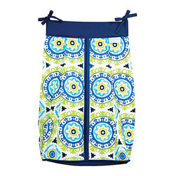 Trend Lab - Trend Lab Waverly Solar Flair Crib Bedding Collection - Diaper Stacker - Keep your diapers organized concealed and close at hand with the Solar Flair Diaper Stacker from Waverly Baby by Trend Lab. Diaper stacker features a medallion print mixing blues greens and a splash of primrose yellow accented by an estate blue trim. Ties allow for easy attachment to most dressers and Changing tables. Measures 12 in x 8 in x 20.25 in and holds up to three dozen diapers.