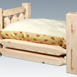 Montana Woodworks - Pet Bed with Mattress - Handcrafted. Rustic timber frame design. Heirloom quality. Made from solid U.S. grown wood. Made in USA. Minimal assembly required. Mattress: 24 in. L x 16 in. H. Overall: 26 in. L x 21 in. W x 17 in. H (26 lbs.). Warranty. Ready to Finish. Use and Care InstructionsMontana woodworks incredibly popular pet bed allows your pet to snuggle into a luxurious, fleece lined mattress for a comfortable healthy rest. The artisans use the mortise and tenon joinery system to ensure this item will withstand years of use.