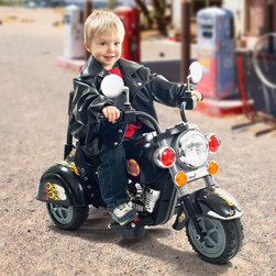 """Lil Rider - Lil Rider Harley Wild Child Motorcycle Battery Powered Riding Toy - Black - 80-Y - Shop for Tricycles and Riding Toys from Hayneedle.com! This tough-guy Harley-style battery-powered motorcycle will quickly become your son's favorite and coolest toy that he owns. Of course at about 3 years of age your child is not going to be riding a two wheeler so we built this one with three. He won't notice. All he'll notice is zipping about the driveway and neighborhood at a screaming 3 miles per hour while all the neighbors shake their fists and tell him to """"Slow down kids play in these streets!"""" But he doesn't care he's a wild child. Additional Features: Recommended for children age 2 Years to 4 Years Total weight: 21 pounds Button start and button for horn About Trademarkcommerce.com Inc./Trademark Global Inc.Located in Lorain Ohio Trademarkcommerce.com Inc. is a wholesale distributor offering a vast selection of items. Whether you need automotive products collectibles electronics general merchandise home and garden items home decor house wares outdoor supplies sporting goods tools or toys Trademarkcommerce.com has it at a price you can afford. Trademarkcommerce.com features hundreds of products within each category of items it stocks."""