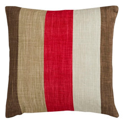 "Surya - Surya JS-012 Striking Stripe Pillow, 22"" x 22"", Down Feather Filler - Compose a lasting look in your space with this supreme striped pillow. Featuring bold brown, beige and red stripes, this piece is perfect to craft an ageless look from room to room. This pillow contains a zipper closure and provides a reliable and affordable solution to updating your home's decor. Genuinely faultless in aspects of construction and style, this piece embodies impeccable artistry while maintaining principles of affordability and durable design, making it the ideal accent for your decor."