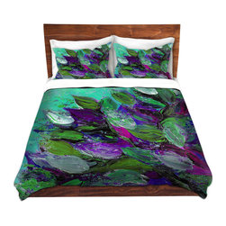 DiaNoche Designs - Duvet Cover Microfiber King-DiaNoche Designs-Julia Di Sano-Blooming Beautiful I - DiaNoche Designs works with artists from around the world to bring unique, artistic products to decorate all aspects of your home.  Super lightweight and extremely soft Premium Microfiber Duvet Cover (only) in sizes Twin, Queen, King.  Shams NOT included.  This duvet is designed to wash upon arrival for maximum softness.   Each duvet starts by looming the fabric and cutting to the size ordered.  The Image is printed and your Duvet Cover is meticulously sewn together with ties in each corner and a hidden zip closure.  All in the USA!!  Poly microfiber top and underside.  Dye Sublimation printing permanently adheres the ink to the material for long life and durability.  Machine Washable cold with light detergent and dry on low.  Product may vary slightly from image.  Shams not included.