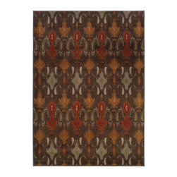 "Grandin Road - Simbel Indoor Area Rug - 1'10"" x 3'3"" - Ikat-inspired area rug in a mix of warm hues on a chocolate brown. Machine woven construction. Durable nylon/polypropylene. Extend the life of your rug with one of our indoor rug pads (sold separately). Update the foundation of your room with an area rug featuring a modern Ikat-inspired pattern in a palette of red, orange, blue, and ivory on a chocolate brown ground. With its highly durable construction, this rug will provide you with elegant comfort underfoot for years to come.. . . . Made in the USA."