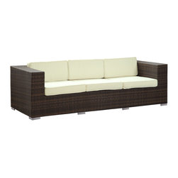 LexMod - Daytona Outdoor Wicker Patio Sofa in Brown with White Pillows - Conduct yourself with an air of freshness in this satisfying outdoor rattan sofa. Rejuvenate a restful repose with success and integrity as you position yourself amidst a quick, light modern design. Embark on your most important dynamics as you increase proximity to all things great.