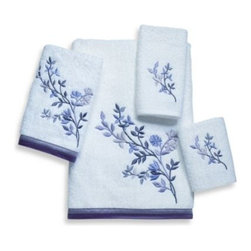 Avanti - Avanti Premier Whisper Bath Towel in White - Bath towels feature a beautifully embroidered botanical design rendered in all shades of purple, from lilac to plum. The coordinating two-tone trim in tones of purple finishes the bath and hand sizes.