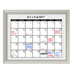 Amanti Art - 'Medallion Grey Dry-Erase Board Calendar' Framed Art Print 32 x 26-inch - Perfect for writing and drawing, this glass message board works with standard dry erase markers (not included). This Medallion Grey Dry-Erase Board Calendar features a blank calendar format which you can fill in for any month of the year, accented by a geometric medallion border and by a lovely cream colored frame with a weathered finish that is perfect match for country-chic decor.