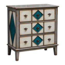 Uttermost - Kinzley Accent Chest - Impeccably constructed in mahogany with dovetail drawers in combination of dark gray, ocean blue, and antique white.
