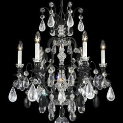 Schonbek - Renaissance Jet Black Seven-Light Jet Black Rock Crystal Chandelier, 23.5W x 27H - -Rock Crystal: This raw crystal is a natural, mined, semi-precious stone and cannot be mass-produced. Rock crystal is a natural quartz prized by collectors since ancient times. Skilled gem cutters grind, cut and polish each rock crystal by hand.  - Ancient rock crystal gemstones, clear crystal and colored crystal combine to make this Renaissance crystal chandelier a collectable piece of art, featuring an ornate framework with authentic seventeenth-century styling.  -Jet Black Rock Crystal  - Wire Length (in inches): 132  - Light Source: Incandescent Bulb  - Bulbs not included  - Chain Length (in inches): 40  - Uses standard line volt dimmer  - Some assembly required  - For shipping outside of USA, please contact Bellacor customer service  - Cleaning and Care Instructions: Every Schonbek product is of heirloom quality and will last for generations. To ensure it retains its brilliance and splendor for years to come, proper care and regular cleaning are necessary. It is recommended that Schonbek products, and particularly their crystal trim, be lightly dusted with a feather or lambswool duster, or soft brush every two months, or whenever it appears dull or dusty. Consult the fixtures trim diagram for detailed cleaning instructions list of approved cleaning solutions. Schonbeck fixtures should never be subjected to any chemical cleaning agents. - See packaging insert for warranty information. Schonbek  - 3570-55BK