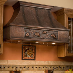 """48"""" Tuscan Series Copper Wall-Mount Range Hood - Grape Motif - Perfect for the wine enthusiast, the 48"""" Tuscan Series Copper Range Hood features a grape vine design. This high-quality kitchen exhaust is offered in two flue heights for a perfect fit in your kitchen."""