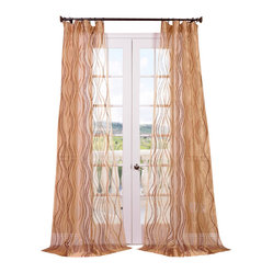 "Exclusive Fabrics & Furnishings, LLC - Alegra Gold Embroidered Sheer Curtain - 100% Polyester. 3"" Pole Pocket. Imported. Dry Clean Only."