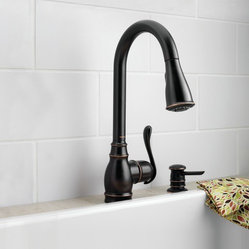 Moen Anabelle Mediterranean bronze one-handle high arc pulldown kitchen faucet