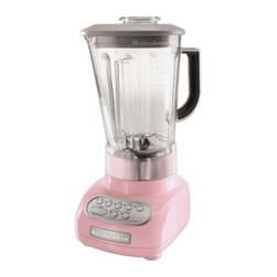 "KitchenAid 5-speed Blender, Pink - Time to get healthy and drink more smoothies! I would certainly be more motivated if I got to look at this while pushing the ""Blend"" button."