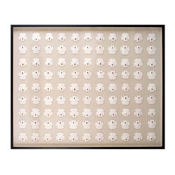 White Sand Dollars Art - Ninety-nine white sand dollars arranged in a neat grid take on a delightful geometric appearance made softer and more sophisticated by the nearly tone-on-tone neutral palette of pale shells on natural linen. This large rectangular shadowbox has a deep black wood frame for a tailored and defined finish to the attractive layout, in which the sand dollars alternate direction for a touch of movement to this beautiful specimen collection.