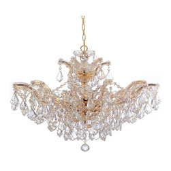 Crystorama - Glass Chandelier in Polished Gold - Classic Maria Theresa design styles with modern twist. For centuries, Maria Theresa style of crystal chandeliers have been a sign of wealth, style, and class.