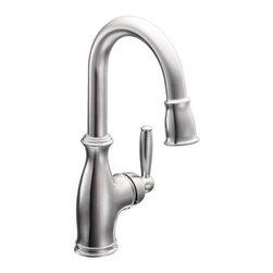 Moen - Moen Brantford One-Handle High Arc Pulldown Single Mount Bar Faucet (5985) - Moen 5985 Brantford One-Handle High Arc Pulldown Single Mount Bar Faucet, Chrome