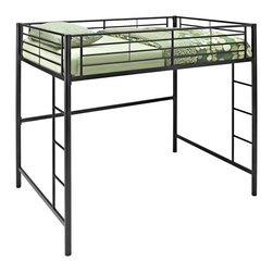 Walker Edison - Black Metal Full Loft Bed - Beloved for its compact foot print, this loft bed is a necessity for your children's bedroom. The sturdy, steel frame promises stability and function to support a full size mattress and up to 250 pounds. Features full length guardrails and two integrated ladders, one on each end. This ideal space-saver is the perfect addition for your bedroom.