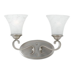 Quoizel Lighting - Quoizel DH8602AN Duchess 2 Light Bathroom Vanity Light, Antique Nickel - Long Description: Indulge in classic European elegance for your home with this refined design fit for royalty. The hand-forged iron is twisted into graceful curves, while the trumpeted shades celebrate the beauty of light with their warm gradation of color.