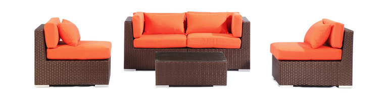 "Kardiel - Modify-It Patio Outdoor Furniture Loveseat/Sofa, Kauna 5-pc Set Wicker, Orange - Kauna offers comfortable lounging and classic modern outdoor styling. This 5-piece Modify-It layout features seating for 4, with a full size coffee table, in a space that is conducive to conversation. The flexible nature of Modify-It modular allows for customized reconfiguring of the layout at will.  The design origins are Clean European. The elements of comfort are inspired by the relaxed style of the Hawaiian Islands. The Aloha series comes in many configurations, but all feature a minimalist frame and thick, ample modern cube cushions. The back cushions are consistent in shape, not tapered in to create the lean back angle. Rather the frame itself is specifically ""lean tapered"" allowing for a full cushion, thus a more comfortable lounging experience. The cushion stitch style utilizes smooth and clean hand tailoring, without extruding edge piping. The generously proportioned frame is hand-woven of colorfast, PE Resin wicker. The fabric is Season-Smart 100% Outdoor Polyester and resists mildew, fading and staining. The ability to modify configurations may tempt you to move the pieces around... a lot. No worries, Modify-It is manufactured with a strong but lightweight, rust proof Aluminum frame for easy handling."
