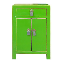 "Golden Lotus - Nightstand End Table Chinese Green Lacquer Silver Hardware Cabinet - Outside Dimensions: 15.5""Wx12""Dx23.5""H"