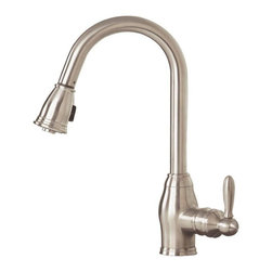 Pegasus - Pegasus Newbury 1-Handle Pull-Down Sprayer Kitchen Faucets in Brushed Nickel - Newbury 1-Handle Pull-Down Sprayer Kitchen Faucet with Ceramic Disc Cartridge in Brushed Nickel Finish