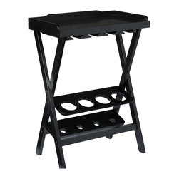 Corner Wine Table - This clever little wine table fits into a corner while keeping up to 12 glasses and four of your favorite bottles safely on display. The top lifts off for use as a serving tray--perfect for the hustle and bustle of home entertaining!