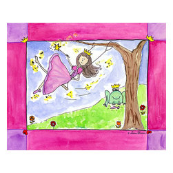 """Oh How Cute Kids by Serena Bowman - As Luck Would Have It, Ready To Hang Canvas Kid's Wall Decor, 8 X 10 - """"As luck would have it""""  What is the princess to do when she has lost her shoe???  Why it is princely frog to the rescue!  As luck would have it   The series goes with 1) Wishing Star ( she makes the wish) 2) """"AS LUCK WOULD HAVE IT"""" she loses her show 3) Wishes and Kisses  ( well you know)  4) """"Happily ever after   There is also 5) Going to the Ball.  I hope you enjoy this series as much as I do.  You can buy one or all five ( sold separately) for easy room decor!"""