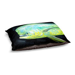 "DiaNoche Designs - Dog Pet Bed Fleece - Deep Sea Life- Mahi Mahi Fish - DiaNoche Designs works with artists from around the world to bring unique, designer products to decorate all aspects of your home.  Our artistic Pet Beds will be the talk of every guest to visit your home!  BARK! BARK! BARK!  MEOW...  Meow...  Reallly means, ""Hey everybody!  Look at my cool bed!""  Our Pet Beds are topped with a snuggly fuzzy coral fleece and a durable underside material.  Machine Wash upon arrival for maximum softness.  MADE IN THE USA."