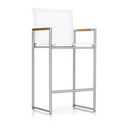 Harbour Outdoor - Breeze Barstool - Perfect for sliding up to the bar, whether it be on the beach, by the pool, or in your backyard, the Breeze Barstool by Harbour Outdoor is a contemporary, fun, modern outdoor chair for people who dont take anything too seriously, except their outdoor furniture. The clean, modern lines of the tubed, stainless steel frame give a fun, playful look to the modern barstool. The teak arm inlays add a touch of class and relaxed sophistication while the Ferrari of France designed UV, mold, and fade proof, quick-drying Batyline mesh make the modern outdoor chair as durable and rugged as it is fun and great to look at.