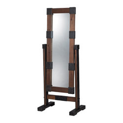 Sterling Industries - Free Standing Industrial Dressing Mirror - The Industrial Dressing Mirror is a gorgeous mirror that has a wooden frame and iron joints to embellish the mirror.  The freestanding frame has iron elements that really make this feel like it was found in some industrial factory.  A great design, this mirror will compliment any modern aesthetic.