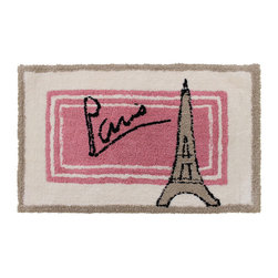 Sherry Kline - Sherry Kline Paris Cotton 20 x 30 Bath Rug - This 20x30 bath rug features a soft,cotton feel. The water-absorbent bathroom accessory is crafted with a Paris Eiffel Towel design in pink,tan and an off white shade with striped accents.