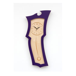 Clock No.3 Mini - Small sized pendulum wall clock - Quite possibly the cutest wall clock in the world, the Mini version of Clock No.3 is a perfectly adorable way to keep time!  Clock No.3 Mini will help you jazz up your space, and it's a perfect way to add a little color to your office, kitchen, living room or nursery!Like all of our furniture, Clock No.3 Mini is made with high quality hardwood veneer panels.  Stains are hand rubbed and paints are maticulously applied.  The distressed lined are sanded by hand to add back a graphic quality that highlights the lines of the piece.  The face of Clock No.3 Mini is laser-engraved maple veneer.  We use a high quality Seiko clock movement for years of trouble free time keepings.Clock No.3 Mini is based on a traditional pendulum wall clock.  The keyhole profile at the top of the clock is another traditional reference.  But, in the classic Dust style, Clock No.3 Mini takes those traditional forms and abstracts them into an altogether new shape.This clock was originally released as as the full sized version of Clock No.3.  As a custom request we made one smaller and everyone at Dust was so struck by how cute the smaller size was that we couldn't help but release to the world!