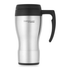 Thermos - Thermos THERMOcafe Foam Insulated 16-Ounce Travel Mug - THERMOcafe travel mug features double wall foam insulation. With a stainless steel exterior, travel mug features a scratch-resistant base and slide lock lid.